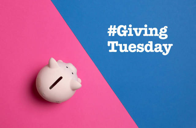 Piggy bank with #Giving Tuesday text
