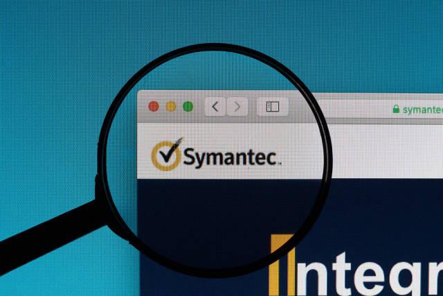 Symantec logo under magnifying glass