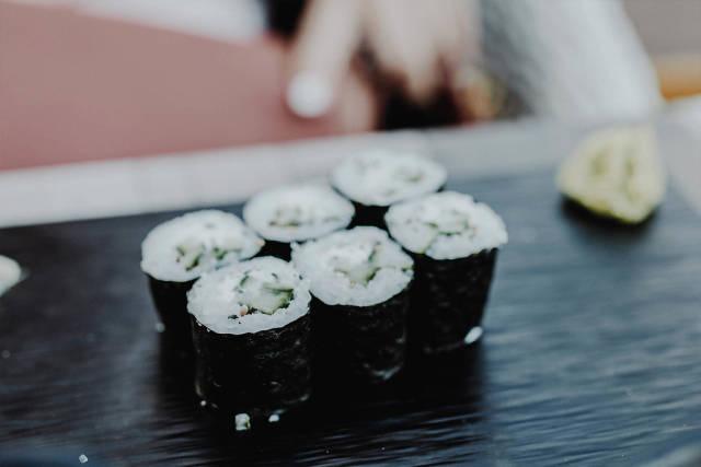 Vegetarian sushi with cucumbers