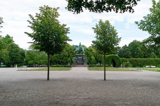 Sideview of Grand Duke of Mecklenburg-Schwerin statue in his former castle's garden