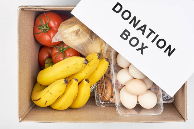 Donation box with various food