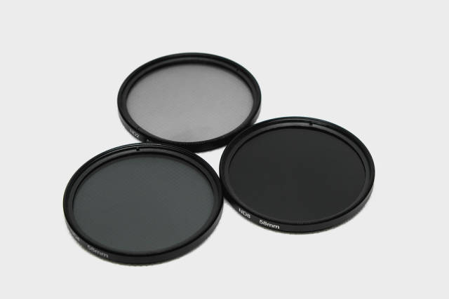 Neutral Density filters on white background