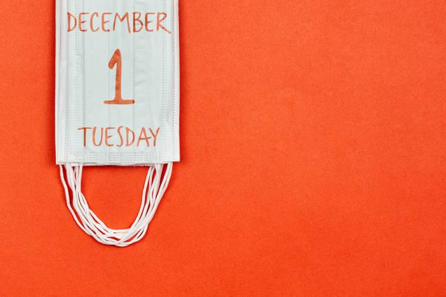 December daily calendar in face masks