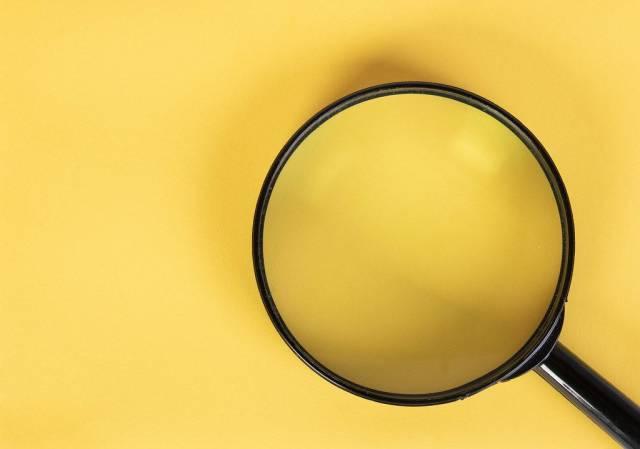 Lupe liegt auf einer gelben, freien Fläche