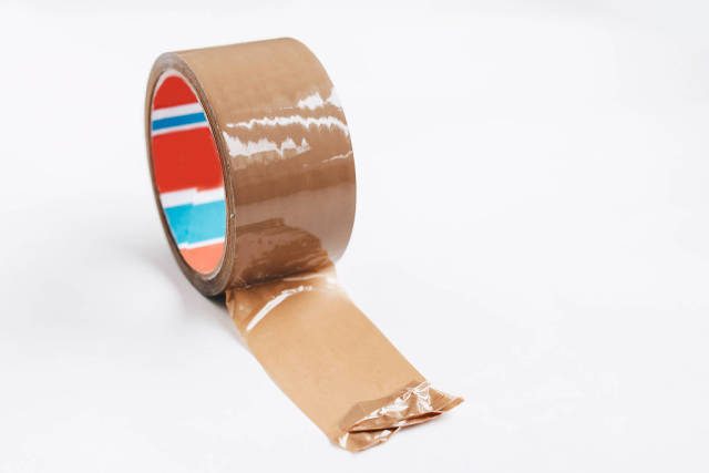 Brown tape on white background