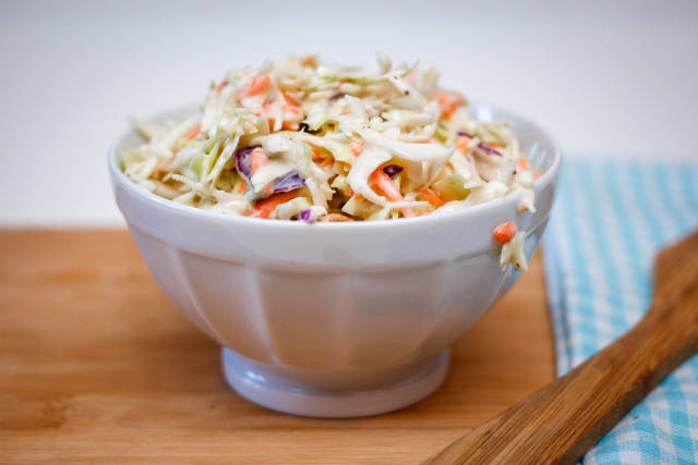 Coleslaw Close-Up in a white Bowl