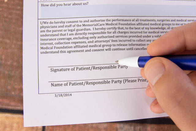Signature of Patient on a form