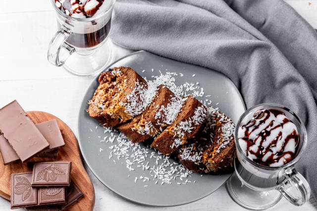 View from above - the Swiss roll, coffee with cream and chocolate