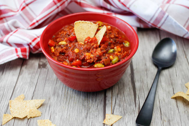 Chili in a Red Bowl