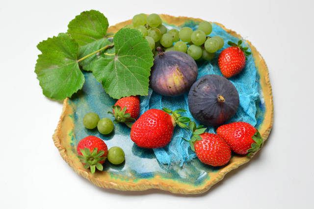Figs, strawberries and grapes