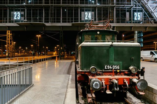 Antique German Reichsbahn green cargo locomotive front view