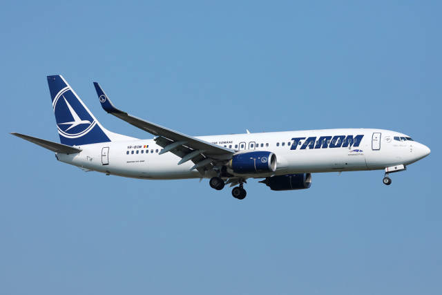 Tarom, Romanian airline flying up in the sky