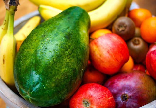 Papaya Close-Up in a Bowl of fruits
