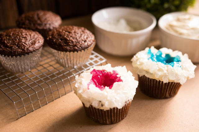 Chocolate cupcakes decorated with hard candy