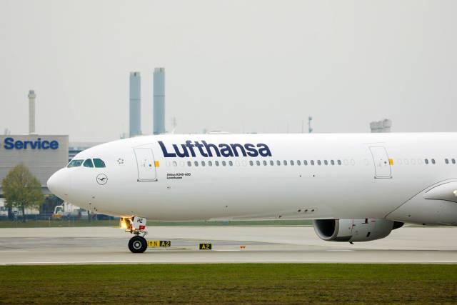 Lufthansa Airbus A340 in Munich Airport, close-up view