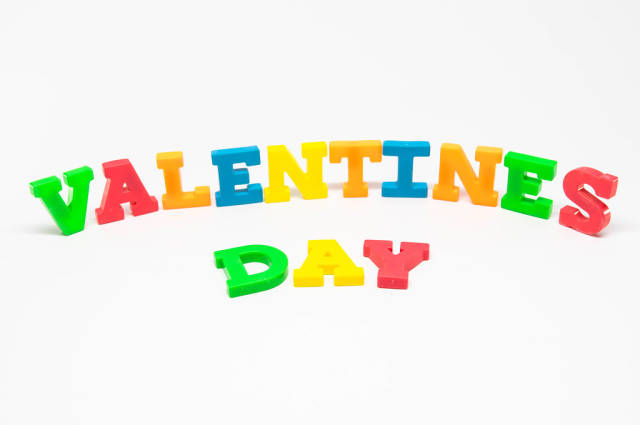 Color letters reading VALENTINES DAY