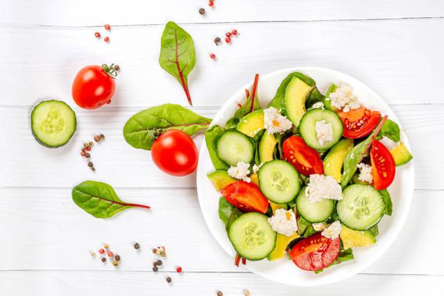 Top view, diet fresh vegetable salad