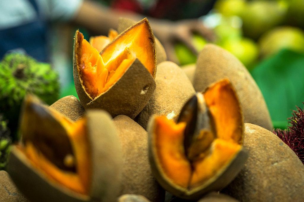 Open zapote tropical fruit