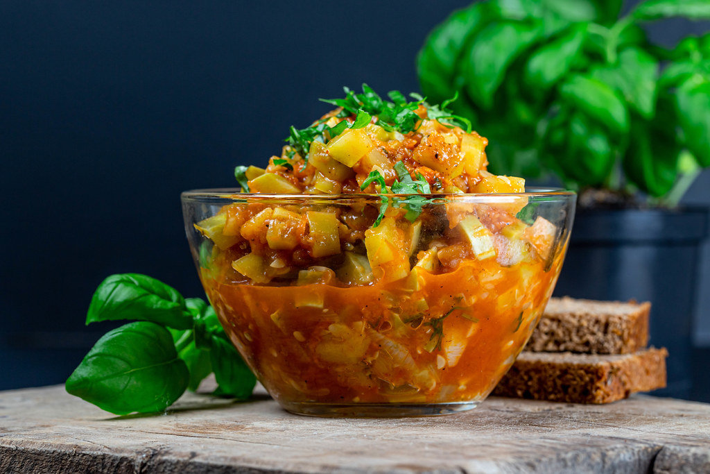 Close-up, vegetable stew in a glass bowl
