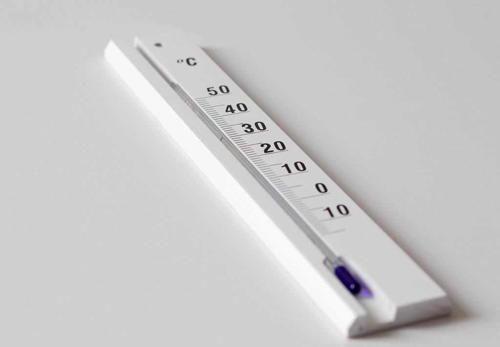 Room temperature meter on white table