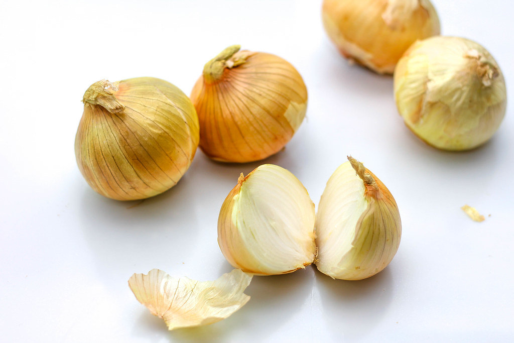 Raw Onion on a White Background