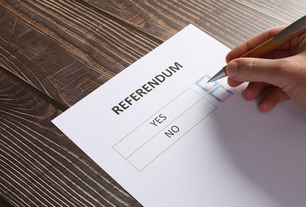 Voting with Yes or No choice on referendum