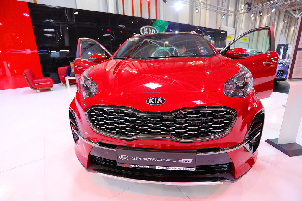 Kia Sportage GT with opened doors at Bucharest Auto Show SAB 2019