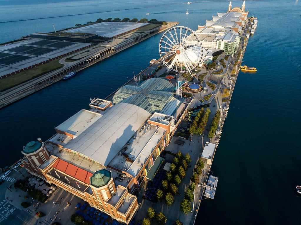 Aerial photo: Chicago Children's Museum with Navy Pier, Centennial Wheel and Amazing Chicago Funhouse Maze in the background