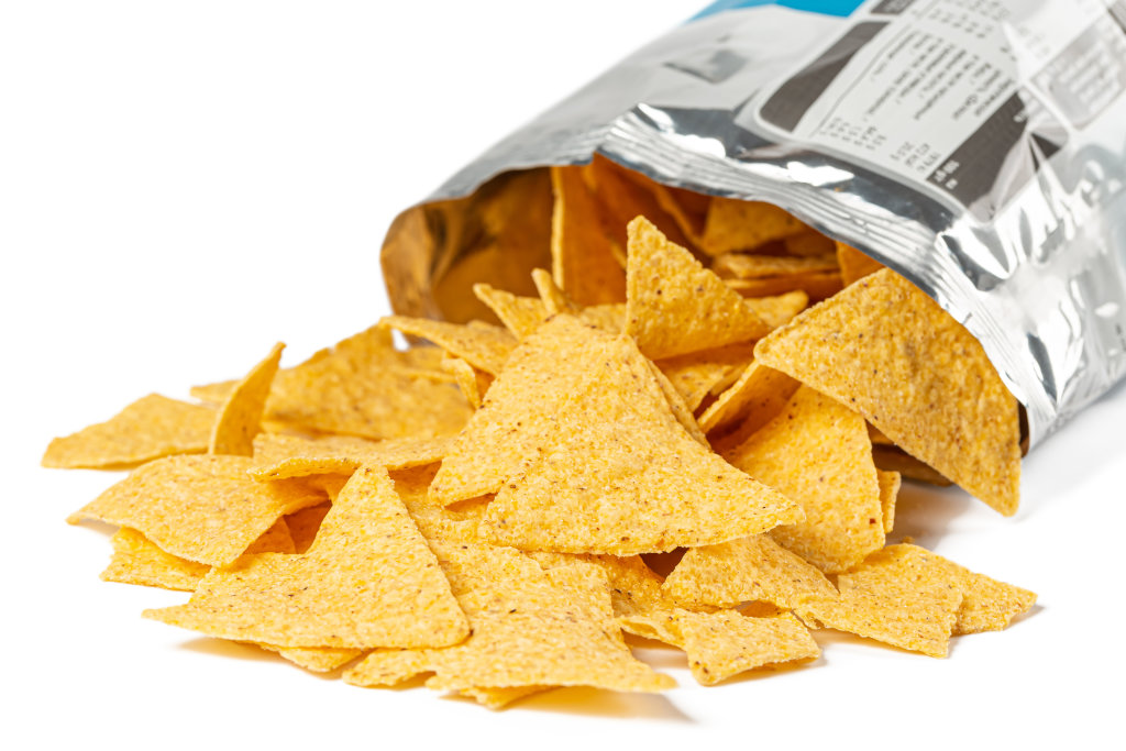 Triangular chips sprinkled from packaging