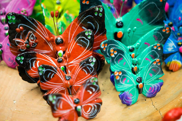Colorful handmade clay butterflies