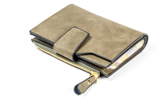 Mens leather wallet on white background