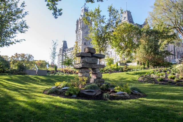 Stone Inuksuk in a Park.