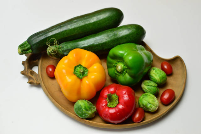 Peppers, brussels sprouts, zucchini and cherry tomatoes