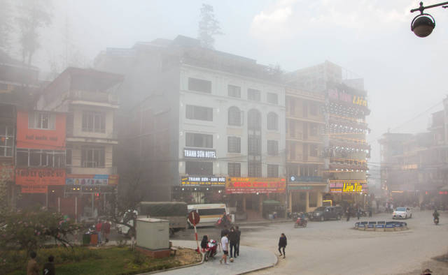 Sapa city on a foggy day