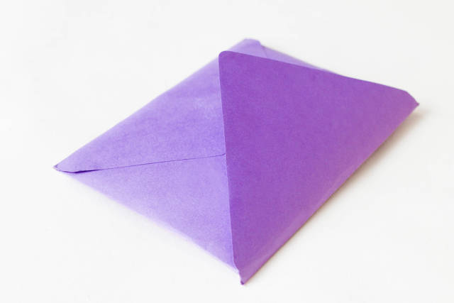 Purple envelope close up