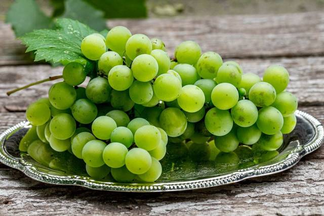 Fresh ripe green grapes on a silver tray (Flip 2019)