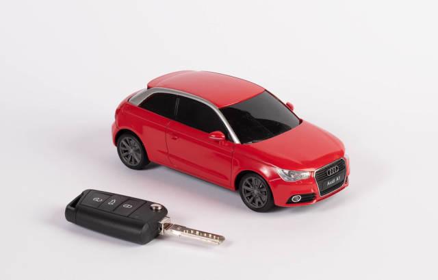 Red car with car keys