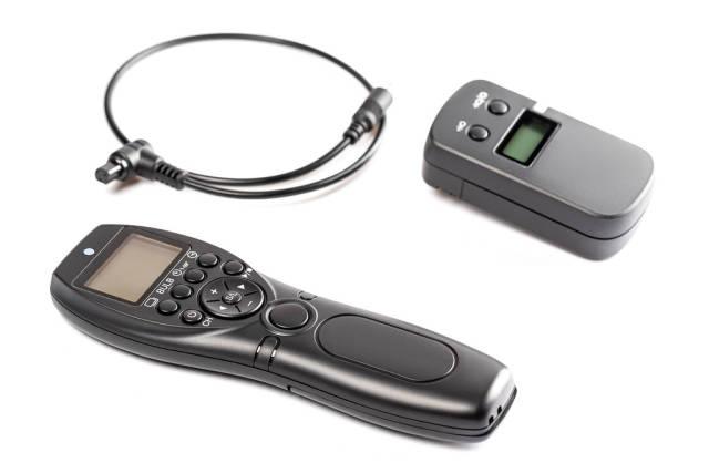 Remote control shutter camera on white
