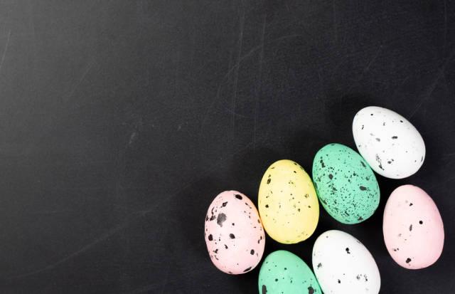 Easter eggs on black background