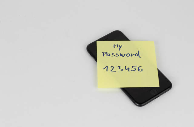 My password written on a paper sticker