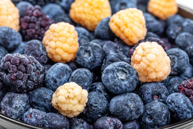 Close-up of blueberries, raspberries and mulberries