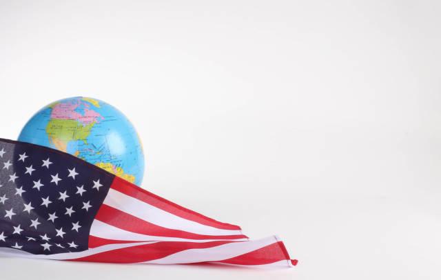 American flag with globe
