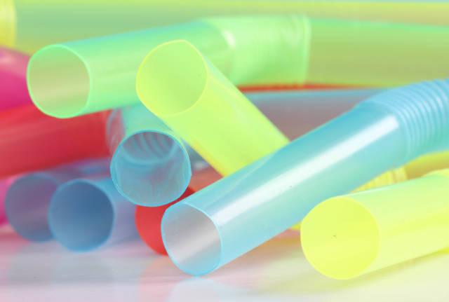 Closeup of colorful plastic drinking straws