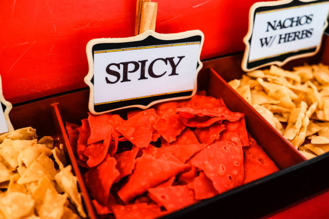 Red spicy nachos for free tasting
