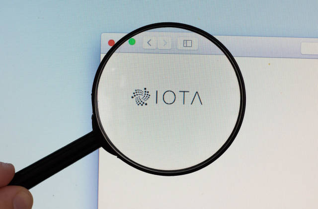 IOTA logo on a computer screen with a magnifying glass