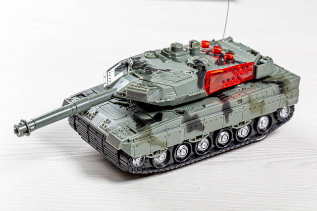 Tank model toys made of plastic on white background