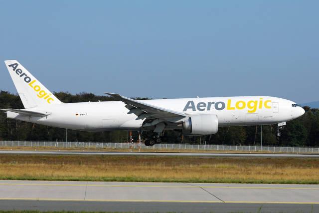 AeroLogic plane landing at Frankfurt Airport