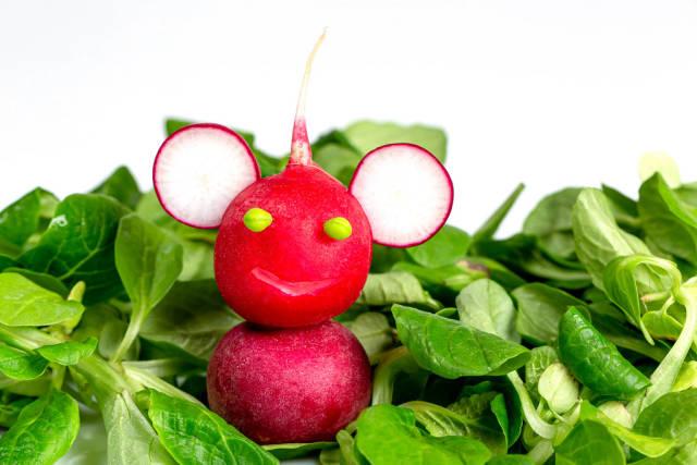 Smiling monkey made of radish