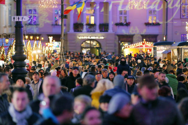 Many people at Christmas market in Sibiu, Romania