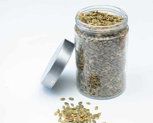 Pumpkin Seeds in a Glass Jar